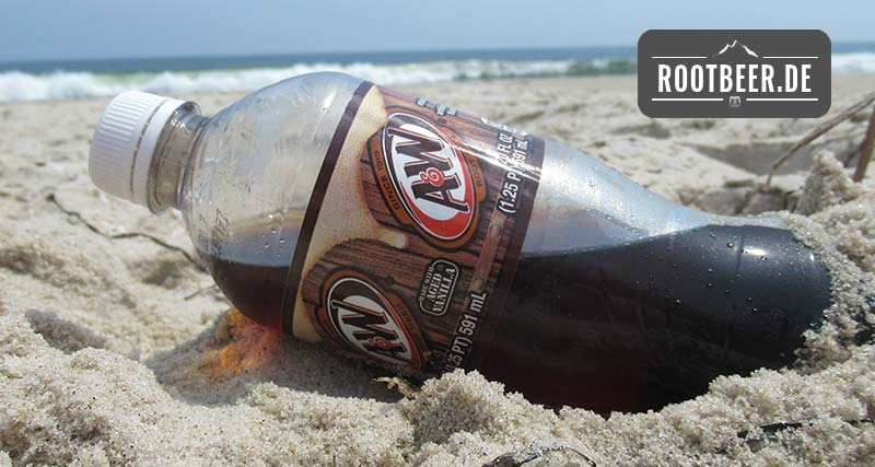 A&W Root Beer in der Flasche am Strand in Atlantic City